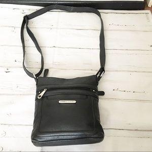 Stone Mountain Black Leather Crossbody Handbag